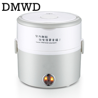 DMWD MINI Electric Insulation Heating Lunch Box Stainless Steel Cooking Steamer 2 Layers Hot Rice Cooker