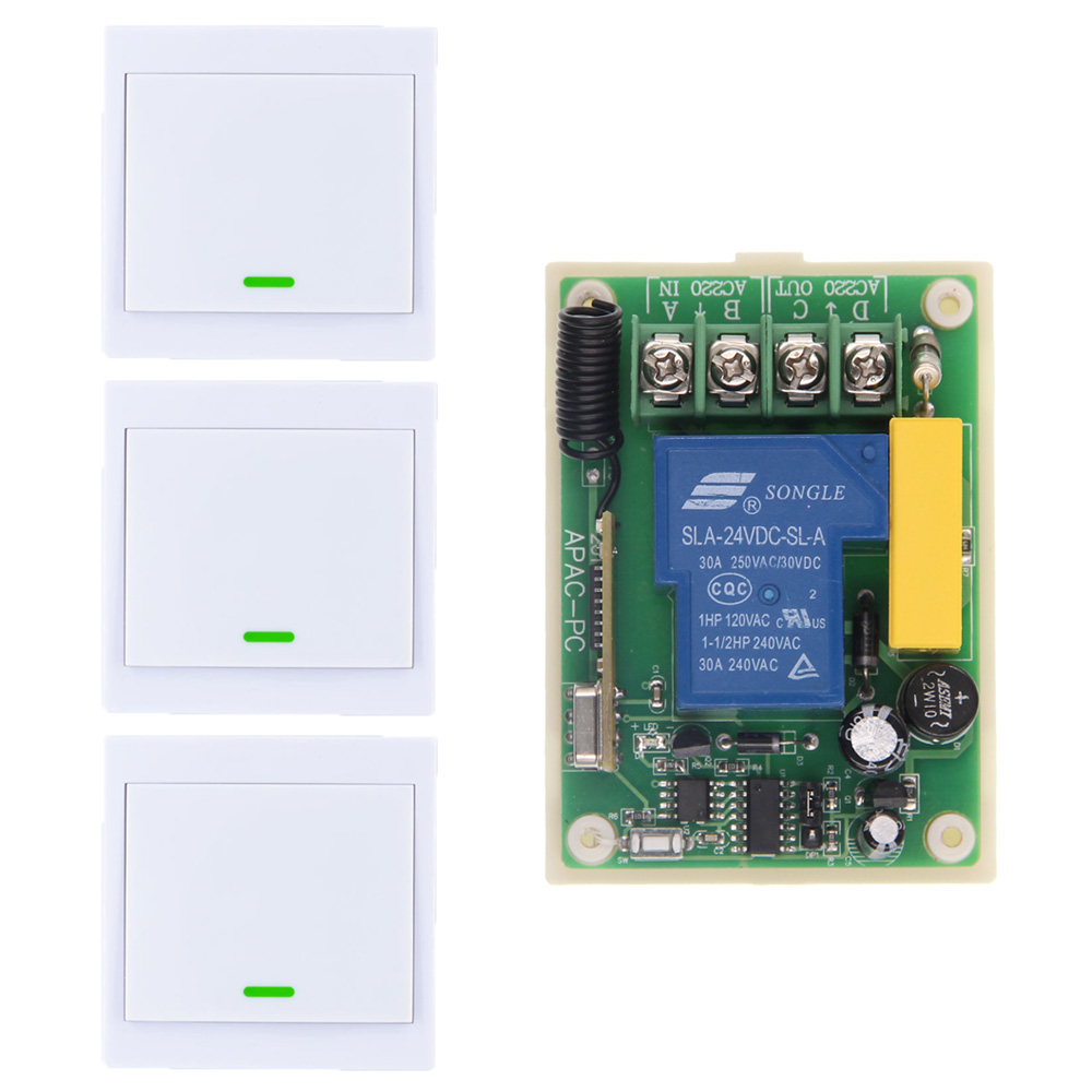 AC 220V 30A Relay 1 CH 1CH RF Wireless Remote Control Switch System+ 3 X Wall Panel Transmitter 315 433.92 MHZ,Toggle dc12v rf wireless switch wireless remote control system1transmitter 6receiver10a 1ch toggle momentary latched learning code