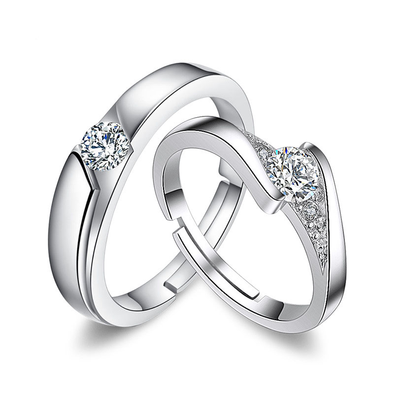 Silver Engagement Wedding Rings Fashion Opening Adjustable Eternal Couple Ring Love Rings