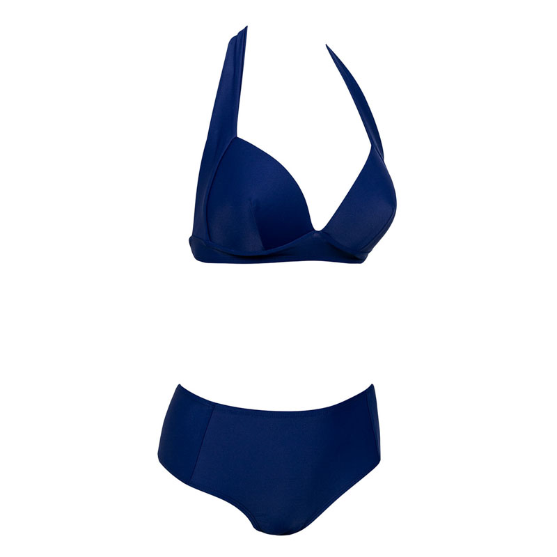HTB1JZ1kvpmWBuNjSspdq6zugXXau - Halter high waist bikini women 2018 Push up plunge swimsuit solid sexy vintage swimwear female Sport bathing suit red bikini set