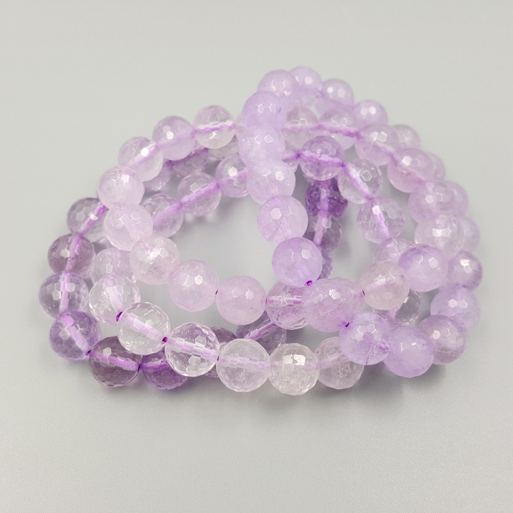 Stock Sale Lii Ji Dyd Color Amethysts Approx 9-10mm Faceted Beads Elestic Bracelet 7.5