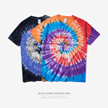 Brand clothing | 2017 spiral tie - dye men 's t-shirts skateboard tie - dye rainbow English graffiti with short sleeves men