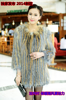 2015 High Quality Fox Fur Knitted Color Block Belt Fur Coat Inside Lining