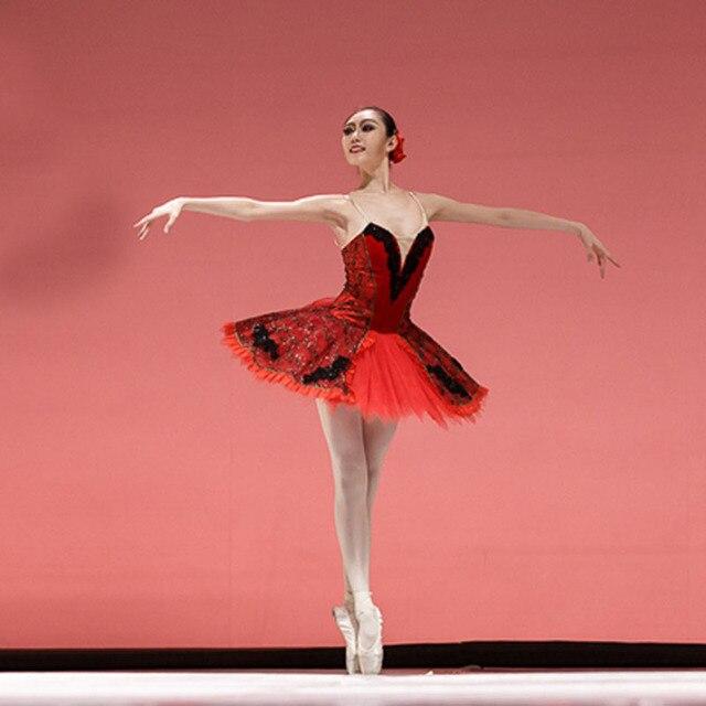 Aangepaste Zwart Rood Ballet Jurken, Don Quichot Rol Ballet Jurk Een Stuk Retail Groothandel