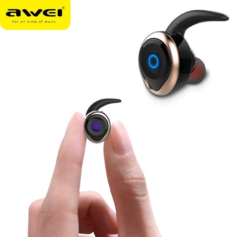 AWEI T1 TWS Auricolare Bluetooth Ture Auricolari Senza Fili Mini In Ear Auricolare Con Il Mic Stereo Vivavoce Auricolare Per il Telefono iphone