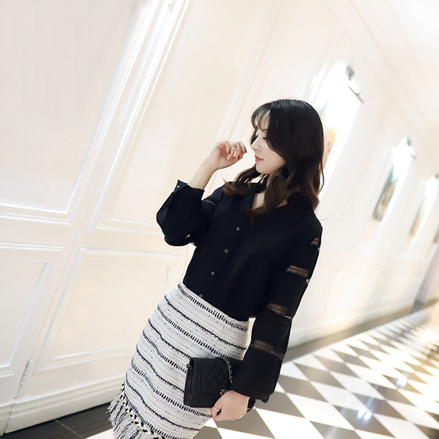 2018 Deva Fashion Spring Summer 100% Silk Blouses Black Crepe DE chine silk Female Lace Casual Silk Blouse Slim Women Silk Shirt