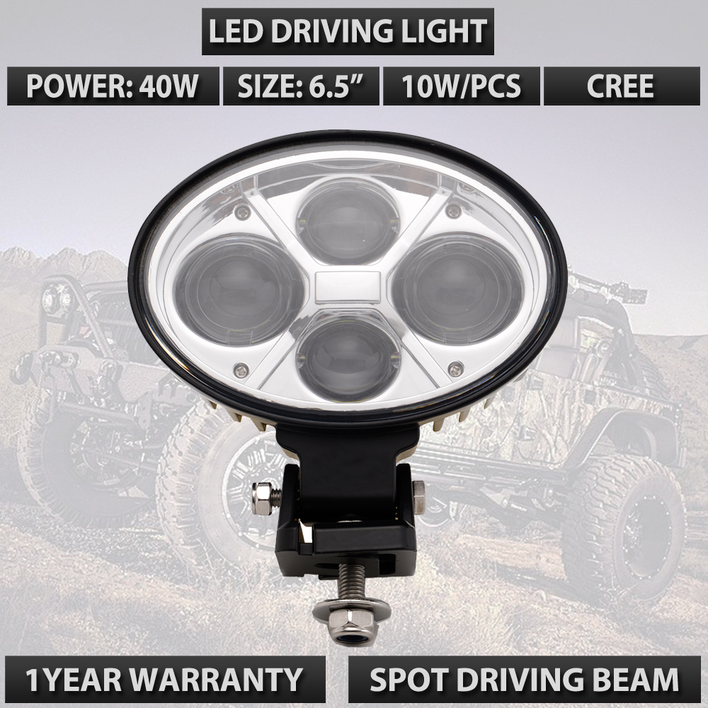 New Oval 40W Led offroad lights 12v 24v High power 10w led work lights 6.5 inch led driving light oval for atv utv suv car x1 lyc 6000k led daylight for citroen c4 for nissan led headlights 12v car led lights ip 68 chips offroad work light 40w