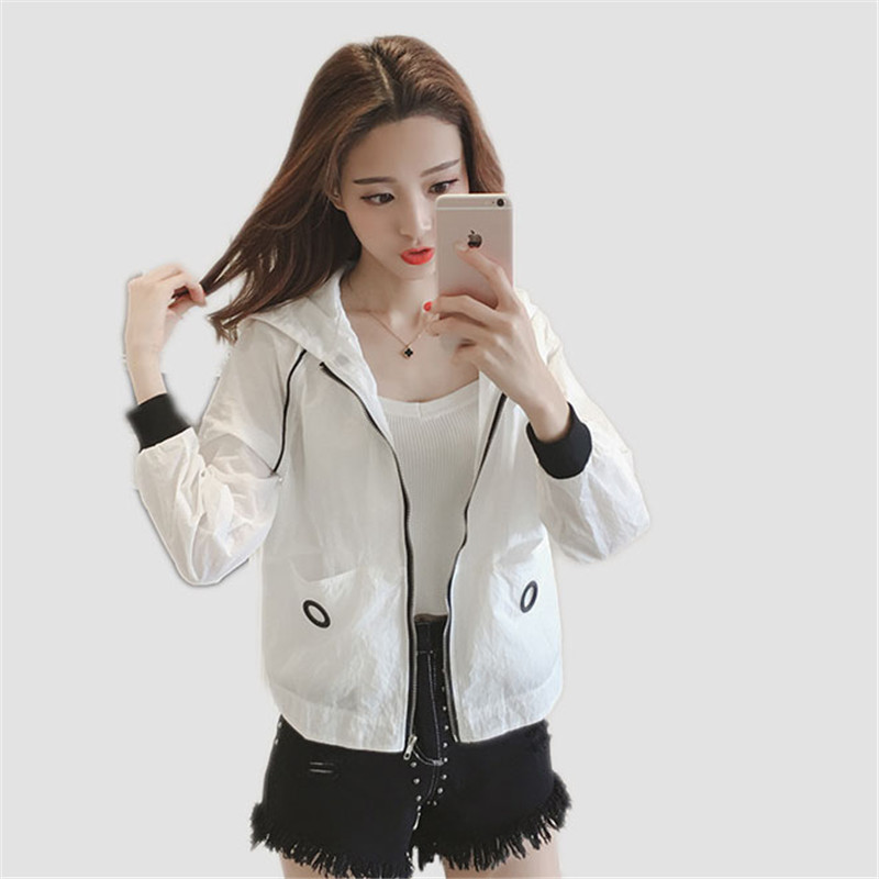 Summer women jacket 2018 fashion new long-sleeved thin short female jackets wild solid color hooded loose ladies jackets cw118