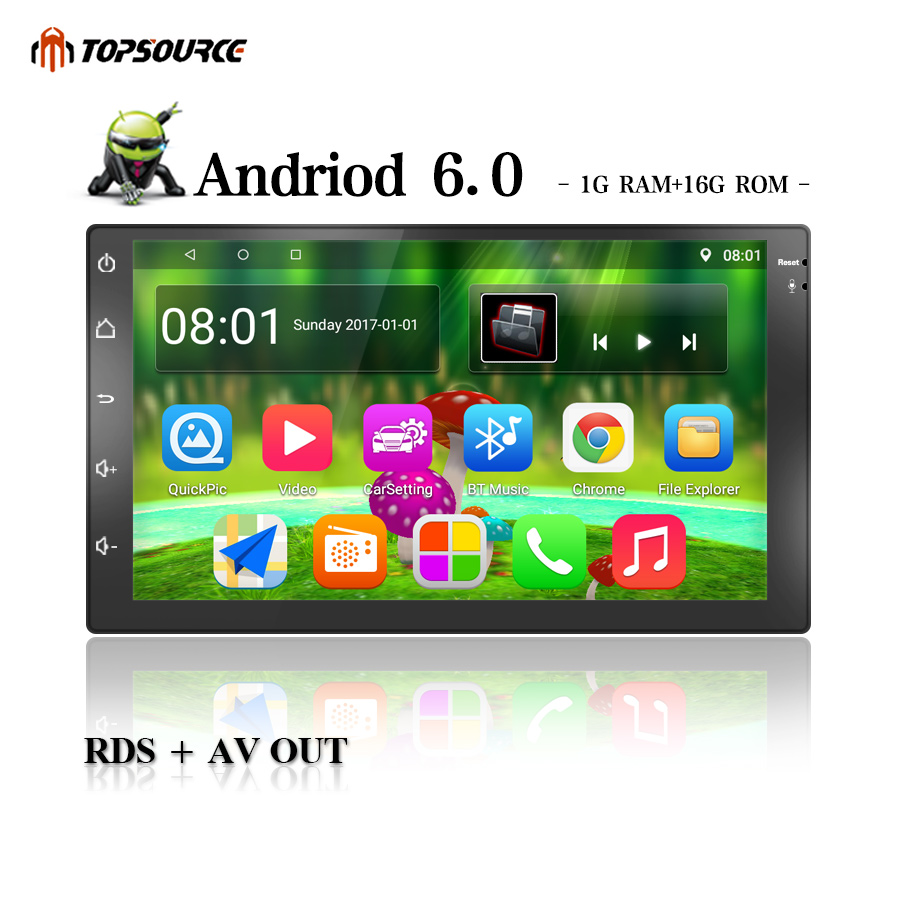 TOPSOURCE Car Multimedia Player Universal Android 6.0 Car DVD Radio Player 2 din WiFi For Nissan TOYOTA Volkswagen RDS AV OUT