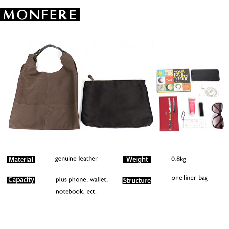 d42b570ba2f5 Pls contact us before you leave Neutral or Negative feedback About MONFERE  Casual Women Hobo Bag Soft Genuine Cow Leather Fashion Shoulder Bags Female  Large ...
