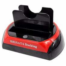 Multifunctional Mobile Hard Disk Seat Box Dual IDE SATA OTB All In 1 USB 2.0 HDD Docking Station HUB Card Reader