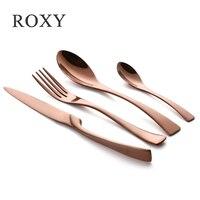 Wholesale 24Pcs/set Stainless Steel Rose Gold Cutlery Set Dinnerware Tableware Silverware Sets Dinner Knife and Fork Set