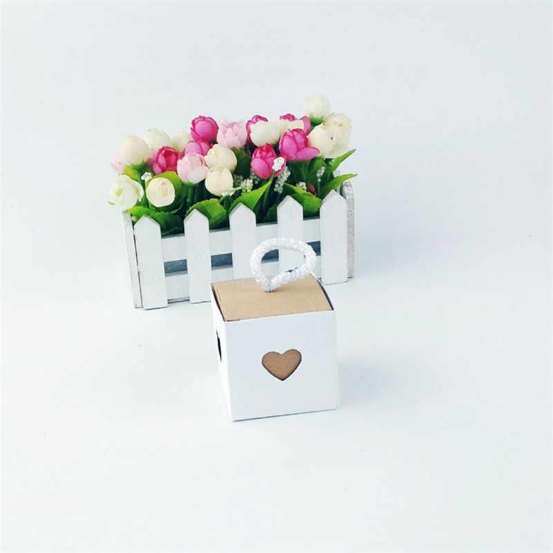 5pcs לב בציר קראפט נייר סוכריות סוכריות אריזת מתנה אריזה חתונה קרטון תיבת קוקי שקיות מתנת שקיות גלישה מספקת