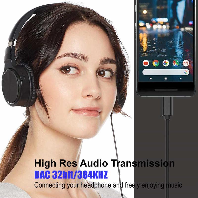 نوع C إلى 3.5 مللي متر ذكر AUX كابل الصوت الرقمي DAC 32 بت/384 كيلو هرتز ل سماعة سماعة مكبر صوت للسيارة جوجل 2/2XL/3/3 XL Mate 20