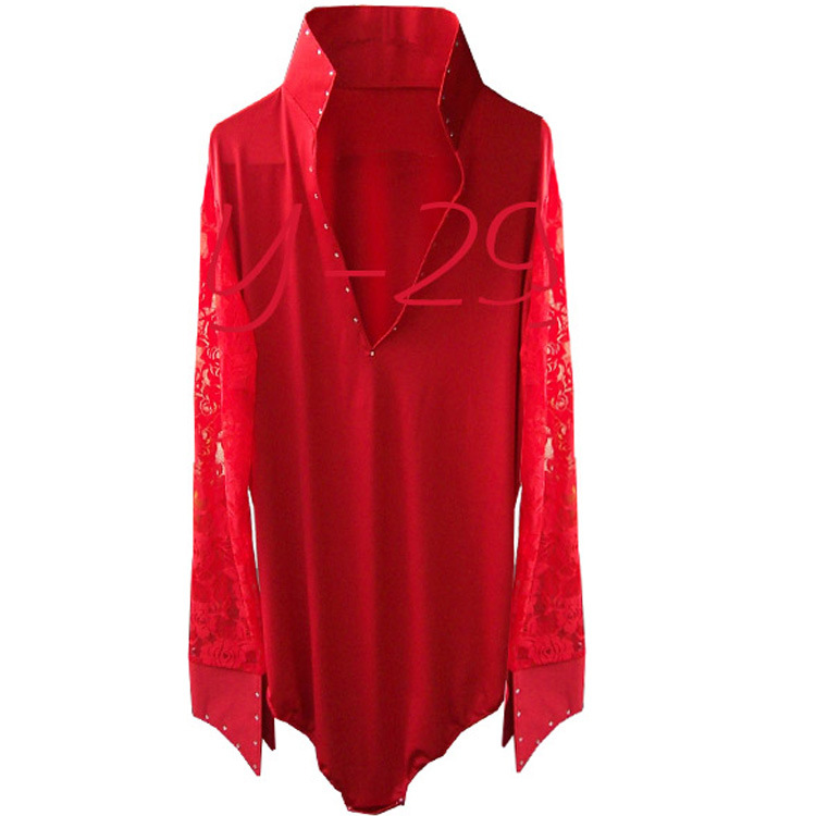 Factory direct wholesale spot can be customized men Latin dance clothing red collar sleeveless Y-29 net