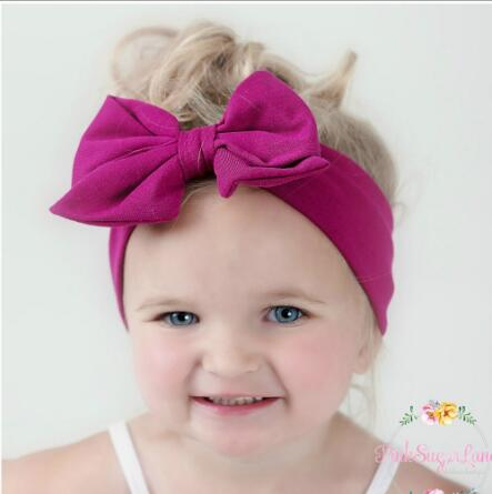 On Sale 1pcs Baby Double Bowknot Headband Knitted Cotton Toddler Infant elastic hair bands Turban Headbands Summer bandeau bebe недорого