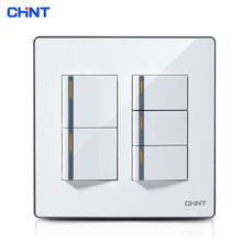 CHINT Switch Socket 120 Type /NEW9E Series Light Switch Faceplates Five Gang Two Way Switch chint lighting switches 118 type switch panel new5d steel frame four position six gang two way switch panel