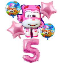 6Pcs 3D Super Wings Balloon Jett Birthday Party balloons toys Childrens Day Decorations kids toy Balloons supplies
