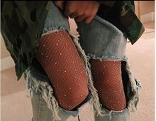 Fashion Womens Crystal Rhinestone Fishnet Elastic  Fish Net sexy