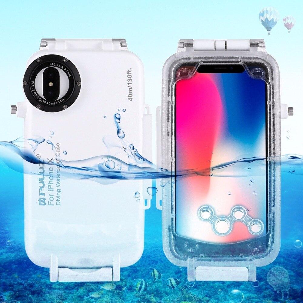 PULUZ pour iPhone X XS 40 m/130ft Étanche Plongée Logement Cas pour Surf Natation Photo la Prise de Vidéo Sous-Marine couverture