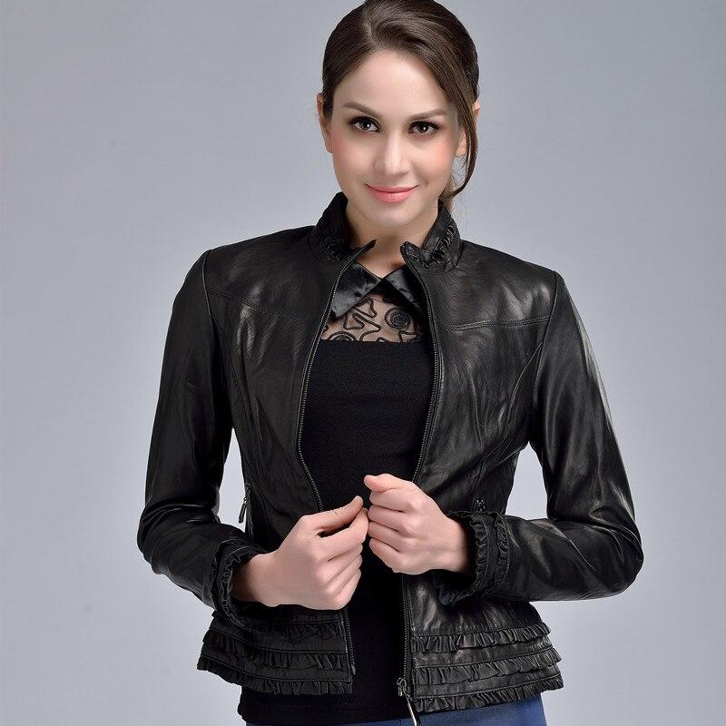 cuello de elegante mujer garantizado piel oveja alto 2017 genuino negro primavera chaqueta cuero YPqpngBxA