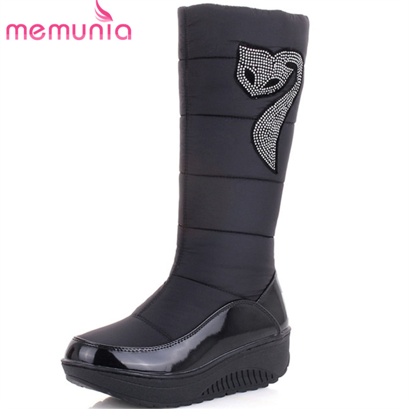 MEMUNIA 2017 new fashion snow boots rhinestone wedges high heels thick fur inside winter mid calf boots ladies women boots stylish women s mid calf boots with solid color and fringe design