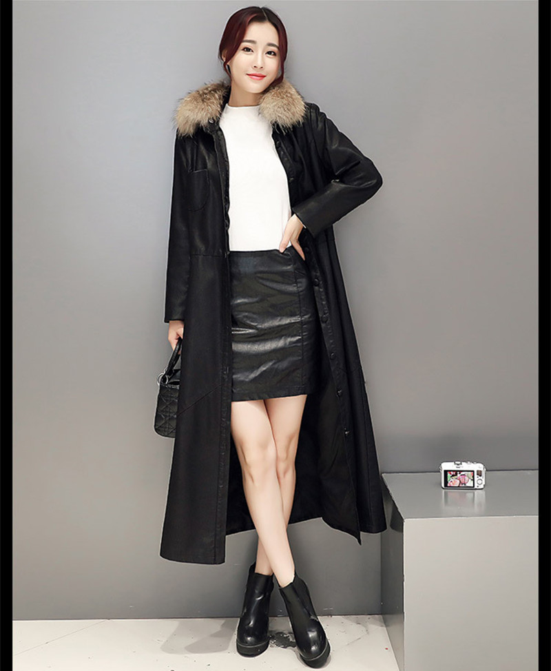 Ayunsue 2018 Women Faux Leather Jacket Fur Collar Slim Elegant