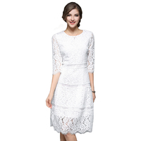 Summer Women Lace Dresses O Neck Hollow Out Vestidos De Festa High Waist Patchwork Dress Feminine