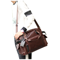 ETONWEAG 1x brown PU leather men's retro casual computer handbag shoulder diagonal package 40 * 30 * 15cm