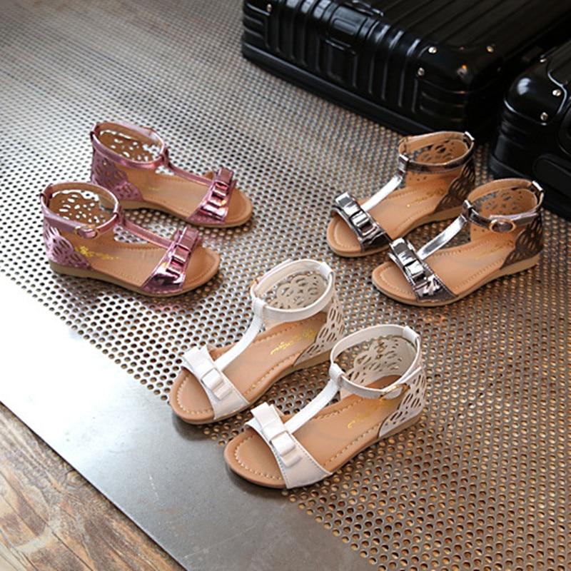 2017 summer Korean children s casual shoes girl princess exposed toe sandals children flat bottom