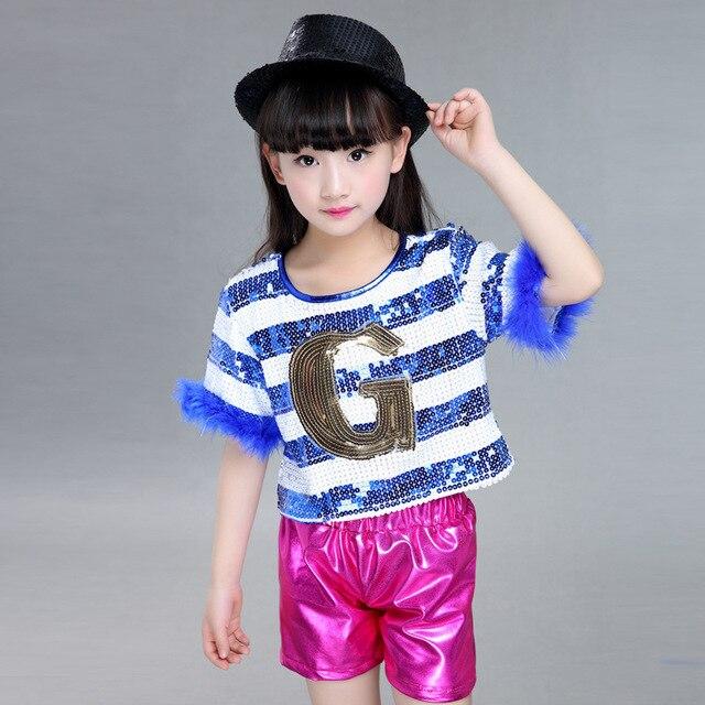 Marca Kids Dancewear niños niñas lentejuelas etapa rendimiento traje  moderno Jazz Hip Hop danza desgaste superior 721288febb2