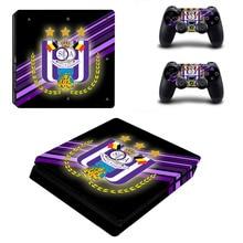 RSC Anderlecht Fußball PS4 Slim Haut Aufkleber Aufkleber für PlayStation 4 Konsole und Controller PS4 Dünne Aufkleber Vinyl