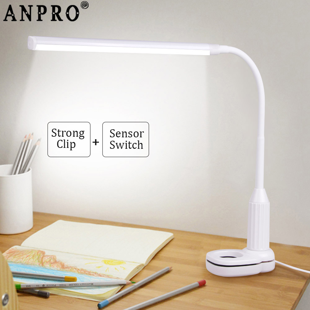 Anpro USB LED Desk Lamp Touch Sensor Control Stepless Dimmable Bendable Reading Light Eye Protect Clamp Clip Book Light