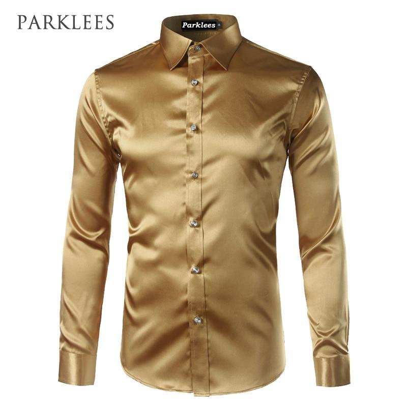 Gold Silk Dress Long Sleeve Shirt Men