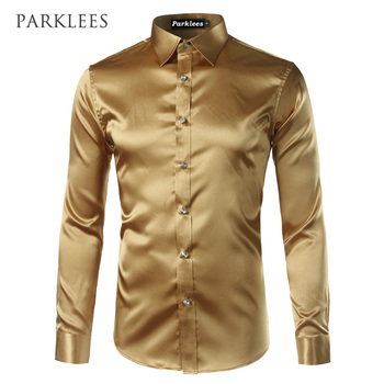 New Gold Silk Satin Shirt Men Chemise Homme  2017 Fashion Mens Slim Fit Long Sleeve Emulation Silk Button Down Dress Shirt Red Косуха