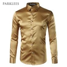 New Gold Silk Satin Shirt Men Chemise Homme  2017 Fashion Mens Slim Fit Long Sleeve Emulation Silk Button Down Dress Shirt Red