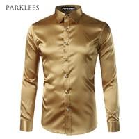 Shiny Silk Satin Prom Dress Shirt Men 2017 Brand New Long Sleeve Emulation Silk Tuxedo Shirt