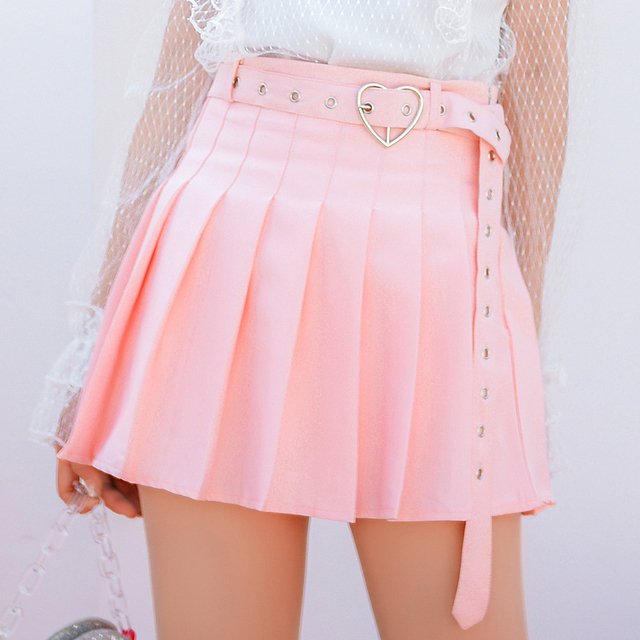 89cd8553f6 2018 Summer New Women A-line Pleated Mini Skirt Hard Girl Heart Sashes  Japan Soft Sister Fashion Pink Lovely Empire Short Skirts