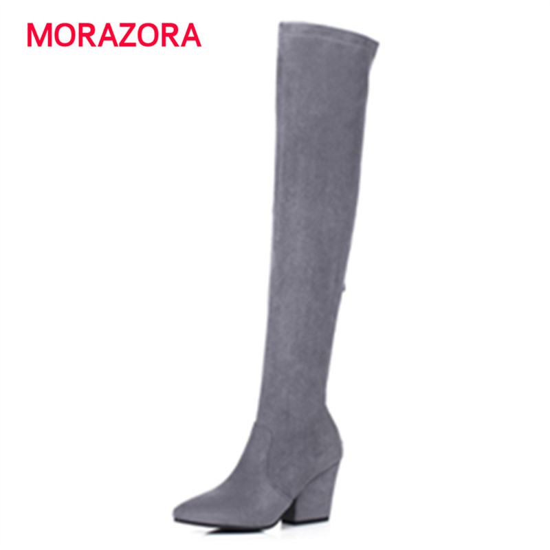 MORAZORA Pointed toe square heel over the knee boots flock women boots solid fashion large size 34-43 simple ravrry square heel solid knee high flock
