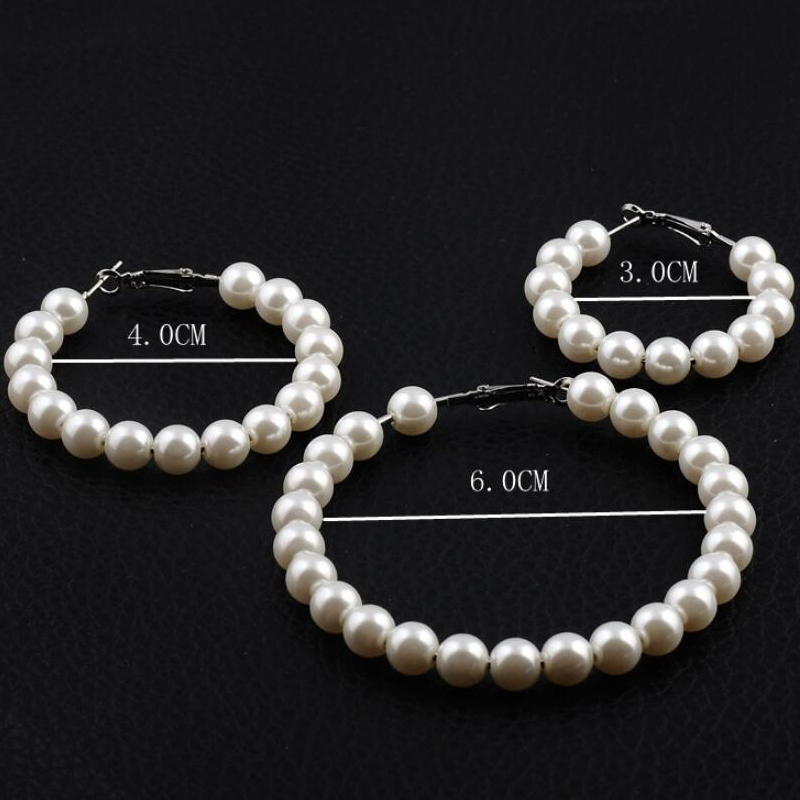 HTB1JZ4Ja.zrK1RjSspmq6AOdFXan - Fashion Simulated Pearl Statement Big Small Hoop Earrings for Women Exaggerate Circle Earrings Personality Nightclub Jewelry