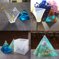 6 Pieces DIY Pyramid Shape Silicone Mold Resin Casting Ornaments Craft Tools Mould Silicone Molds DIY Craft Supplies