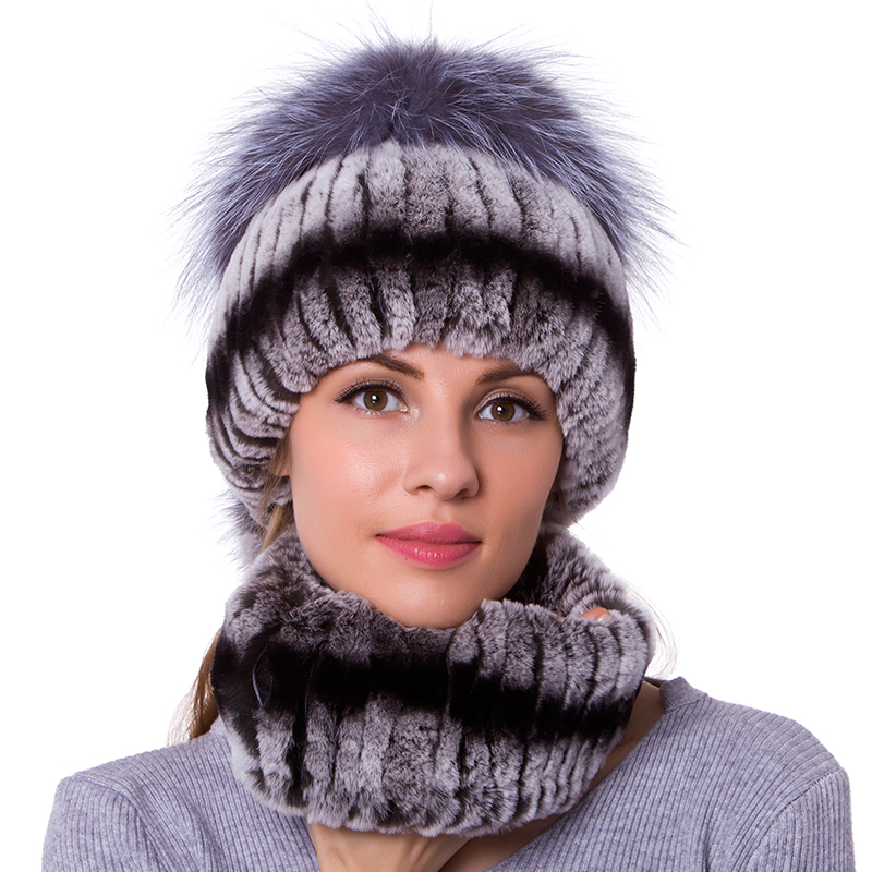 Women Scarf Rex Rabbit Fur Hat For Winter Natural Fox Fur Scarf And Hat Solid Color 2018 New  JKP Cap And Scarf DHY18-30