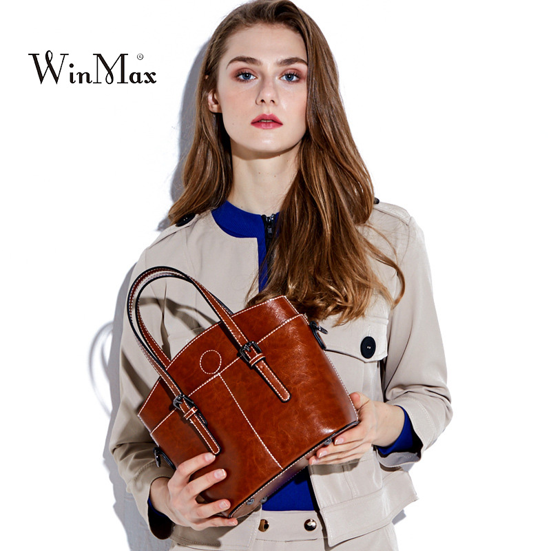New Fashion Women Handbag Genuine Leather Women Bag Soft Oil Wax Leather Shoulder Bag Large Capacity Casual Tote Bolsa sac 2018 neverout oil wax style split leather bag for women vintage boston bag shoulder sac 3 color handbags tote zipper tote new handbag
