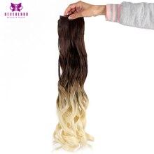 """Neverland 24 """"60 см длинные вьющиеся 5 Зажимы Одна деталь синтетические шиньоны бежевый Ombre жаропрочных Волокна Клип В Наращивание волос"""