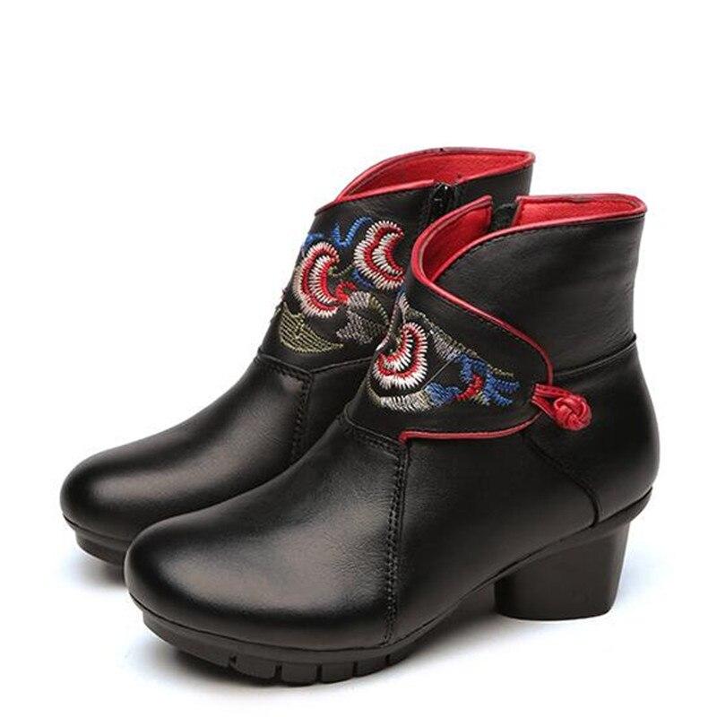 Réel Cuir De Bottes black Automne Tube Neige Peau 2019 Avec Nouvelle Court Boots Brodé Singioe Épais Winter Chaussures Boots Black En Vache Hiver Femmes AL4qjc35R