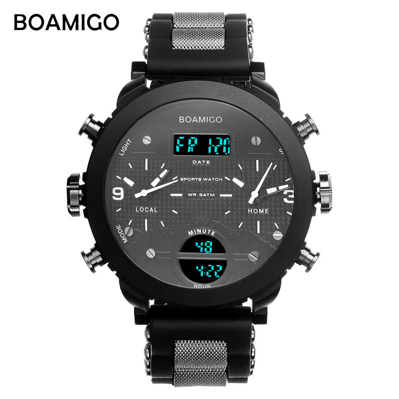 BOAMIGO 3 Time Zone Military Watch Men Sport Watches For Men Famous Brand LED Digital Watch Mens Watches Quartz Wristwatch Gift weide mens watches luxury men quartz digital sport watchr waterproof new style watches relogio military multiple time zone watch