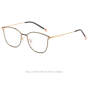 Image 5 - 2019 new ladies optical mirror cat eye fashion can be equipped with myopia glasses frame trend personality square metal glasses.