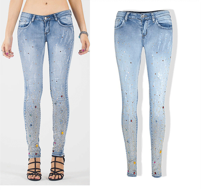Sexy diamond sequined scratched pencil pants washed low waisted full length denim women jeans trousers womans plus size