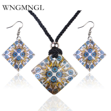 WNGMNGL Hot Sale Womens Painted flower pattern Necklace Earrings Natural Shell Jewelry Set Square for Women Girls Gift