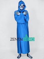 Gratis Verzending DHL Halloween Kostuum Twee Stukken Blauw Menselijk Skelet Lycra Spandex Terug Rits Zentai Pak met een Cape XRC045